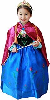 Halloween Princess Anna Costume Girl's Dress with Cape