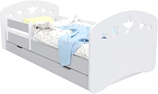 Toddler Bed Kids Bed Junior Children s Single Bed with Mattress and Underbed Drawer Included HDG Perfect for Boys and Girls Eco Paints Maximum Safety  160x80  Grey