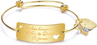 OFGOT7 Expandable Mother Daughter Bracelets - The Love Between a Mother & Daughter is Forever, Mothers Day Birthday Gifts Charm Bracelet Jewelry