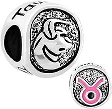 Pugster Silver Plated Tone Taurus Horoscope Zodiac European Charm Sale Cheap Jewelry Beads Fit Pandora Charms Bracelet Gifts