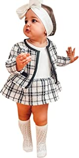 Toddler Baby Girl Houndstooth Dress Set Long Sleeve Jacket Tops Tutu Skirt Autumn Winter Princess Formal Outfits