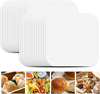 Air Fryer Perforated Paper, Deamos Steamer Paper 7 inch, Set of 200, Parchment Paper White Air Fryer Filter Paper Perforat...