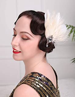 Aimimier 1920s Flapper Feather Hair Clip Ivory Great Gatsby Headpiece Prom Party Roaring 20s Accessories for Women and Girls