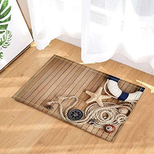 Planche de bois jaune corde blanche boussole belle étoile de mer rose coquille bleu blanc anneau de bain tapis de salle de bain plancher tapis de porte intérieur porche enfants 15.7X 26.3IN