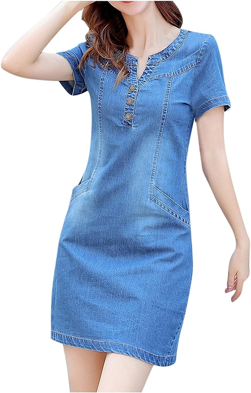 Reokoou Fashion Denim Dresses for Women Solid Color Button V-Neck Short Sleeve Jeans Tshirts Slim Dress with Pockets