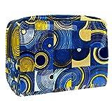 TIZORAX - Bolsa de maquillaje de PVC con diseño de círculos y cuadrados abstractos