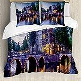 ABAKUHAUS holandés Funda Nórdica, Puente sobre el Canal Keizergracht, Estampado Lavable, 3 Piezas con 2 Fundas de Almohada, 200 cm x 200 cm - 80 x 80 cm, Multicolor