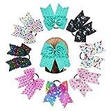 Nishine 8pcs 7' Girls Unicorn Heart Ribbon Cheer Hair Bows Hair Rope Hair Ties Gift