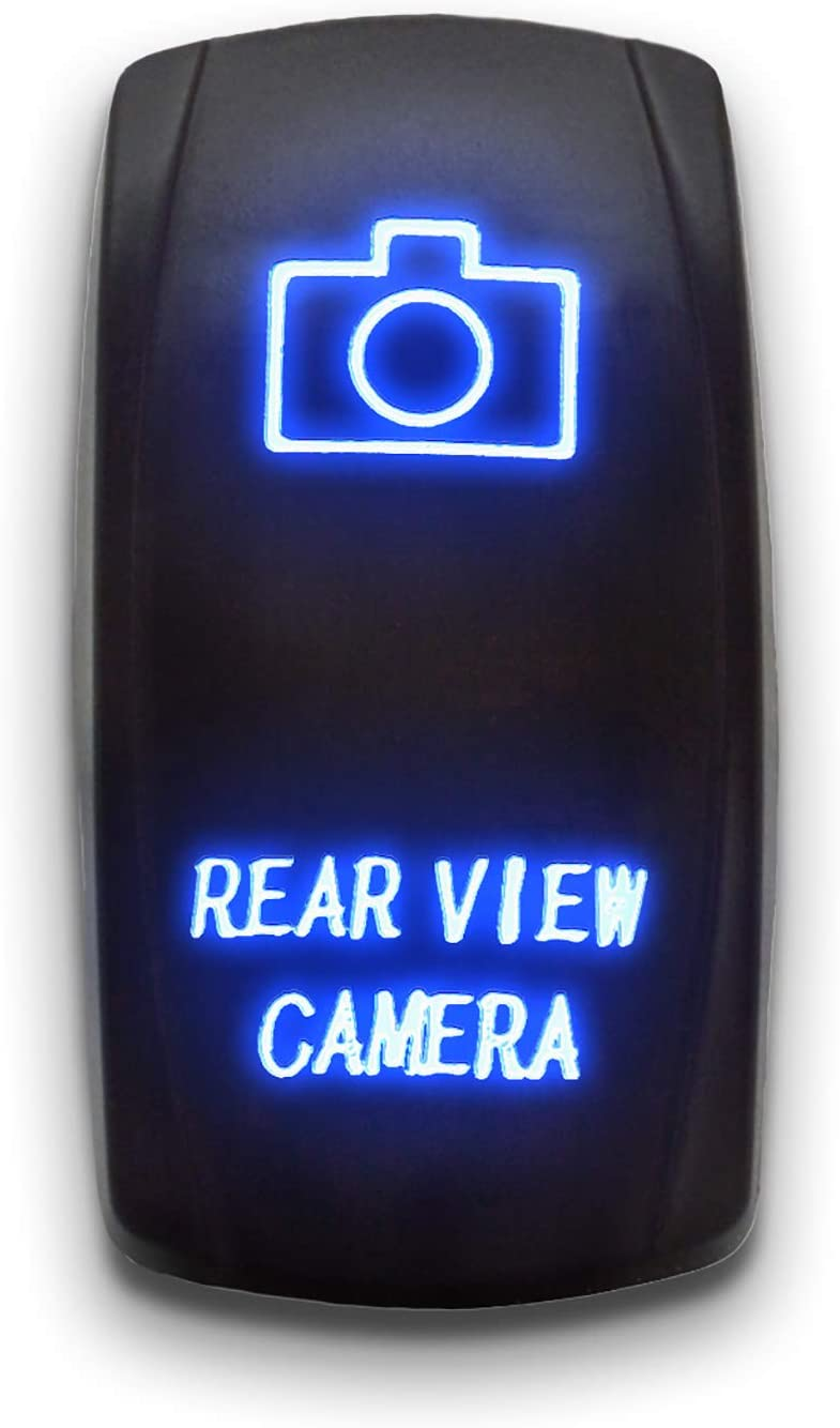 REAR VIEW CAMERA   Blue   STARK 40 PIN Laser Etched LED Rocker Switch Dual  Light   40A 40V ON/OFF