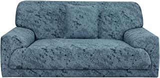 uxcell Sofa Slipcover for 1 2 3 4 Seater Couch Spandex Polyester Stretch Anti-Wrinkle Slip Resistant 1 Piece Sofa Protector for Pet Dog with One Free Cushion Case 25, 92 inches-122 inches
