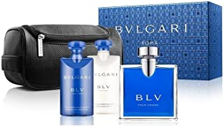 Bvlgari Blv By Bvlgari For Men Edt Spray 3.4 Oz & Aftershave Balm 2.5 Oz &shampoo And Shower Gel 2.5 Oz & Pouch