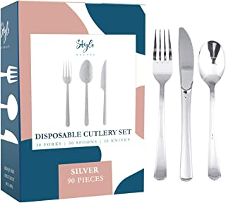Style Wkends 90 Silver Plastic Silverware Party Utensils Set,Silver Plastic Cutlery Set, Disposable Silverware Set– Heavy Duty Plastic Disposable Cutlery (30 Spoons, 30 Forks & 30 Knives)