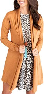 Women's Loose Fit Long Sleeve Open Front Basic Draped Lightweight Cardigan