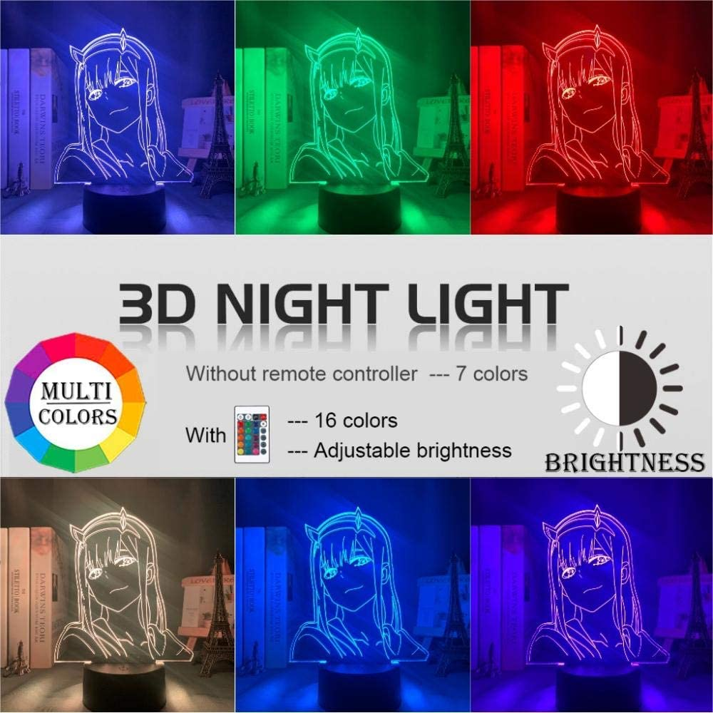 Anime 3D Lamp Zero Two Figure Illusion Light Manga Gift LED Night Light Darling in The Franxx Kids Girls Bedroom Decor Light-FL02/_16 Color with Remote
