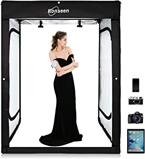 XIAOMIN 80cm Folding Portable 80W 8500LM White Light Photo Lighting Studio Shooting Tent Box Kit with 3 Colors Backdrops Black, White, Orange Premium Material