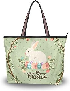 ALAZA Tote Schultertasche Osterhasen-Kaninchen Bunte Eier Handtasche Große