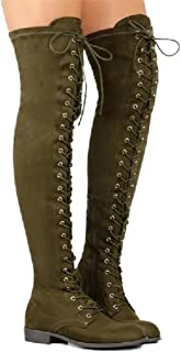 6d329a50caa Inornever Women s Over The Knee Pull On Boots Thigh High Low Heel Faux Suede  Lace Up