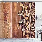ABAKUHAUS Lagar Cortina de Baño, Tabla de Madera corchos de Vino, Material Resistente al Agua Durable Estampa Digital, 175 x 200 cm, marrón