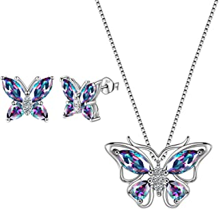 Aurora Tears Schmetterling Halskette 925 Sterling Silber Blau Anh/änger Tiere Charm Schmuck Geschenk f/ür Frauen und M/ädchen DS0036W