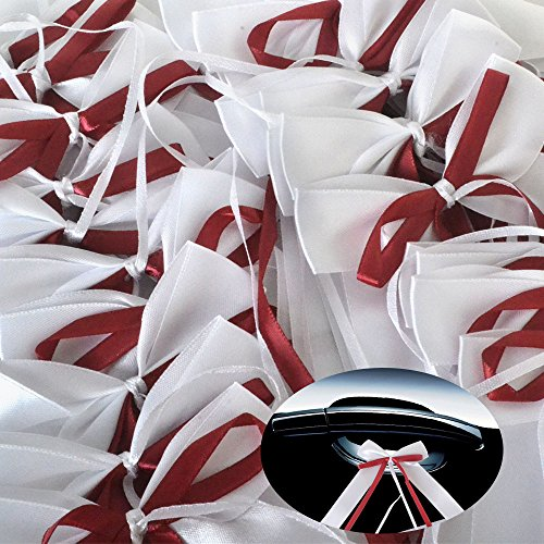 30 x Antennenschleifen Weiss & bordeaux Autoschmuck Autoschleifen Hochzeit Party