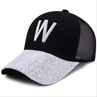 Hats Sunshade Sun Hat Mesh Cap Fashion Hat Men and Women Embroidered Letter Baseball Cap Summer Outdoor Breathable Cool Hat Sunscreen Cap Fashion (Color : Silver)