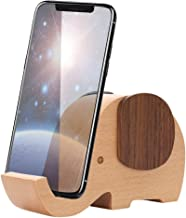 Apor Cell Phone Stand, Wood Made Elephant Phone Stand for Smartphone with Pen Holder Desk Organizer (Larger)