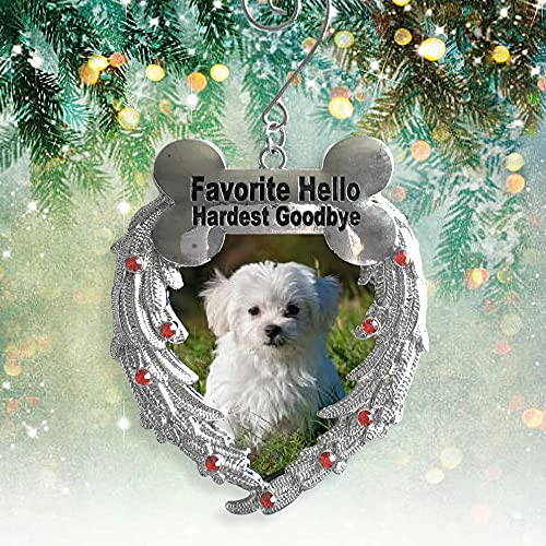 BANBERRY DESIGNS Pet Memorial Photo Christmas Ornament - Favorite Hello Hardest Goodbye Saying - Loss of a Dog Memorial Sympathy Ornament