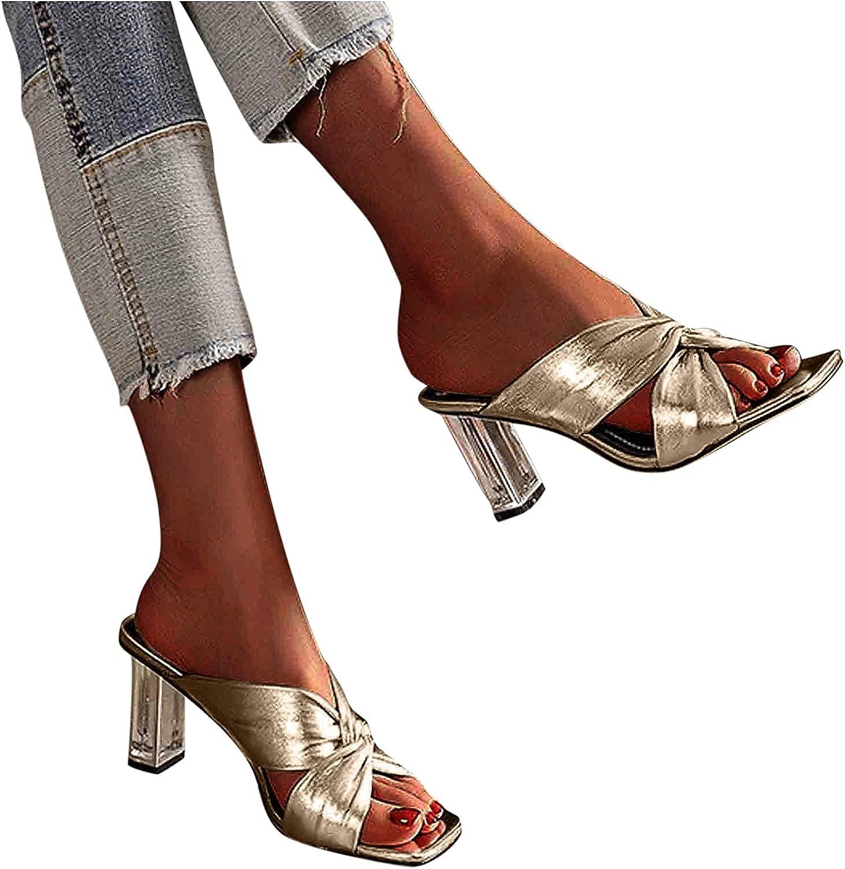 ZBYY Ranking TOP2 Women's Open Toe Sandals Summer Square Super sale Slip Dress On Backle