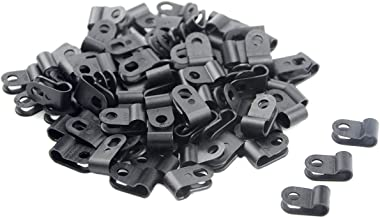 TOVOT 200 PCS Black Nylon Screw Wire Clips R-type Clip Cable Clamp Fasteners Tubing Clips 3/16 Inch (5 mm) for Wire Management