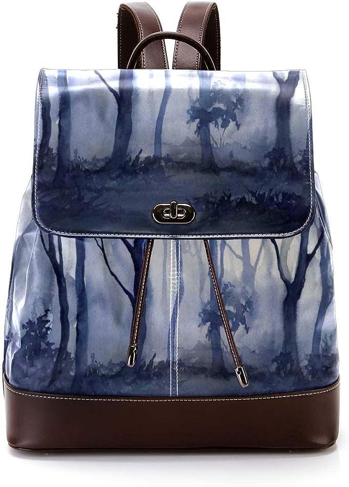 Forest PU Leather Backpack Fashion Shoulder Bag Rucksack Travel Bag for Women Girls