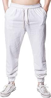 Men's Casual Drawstring Waist Cotton Linen Jogger Pants Beach Trousers