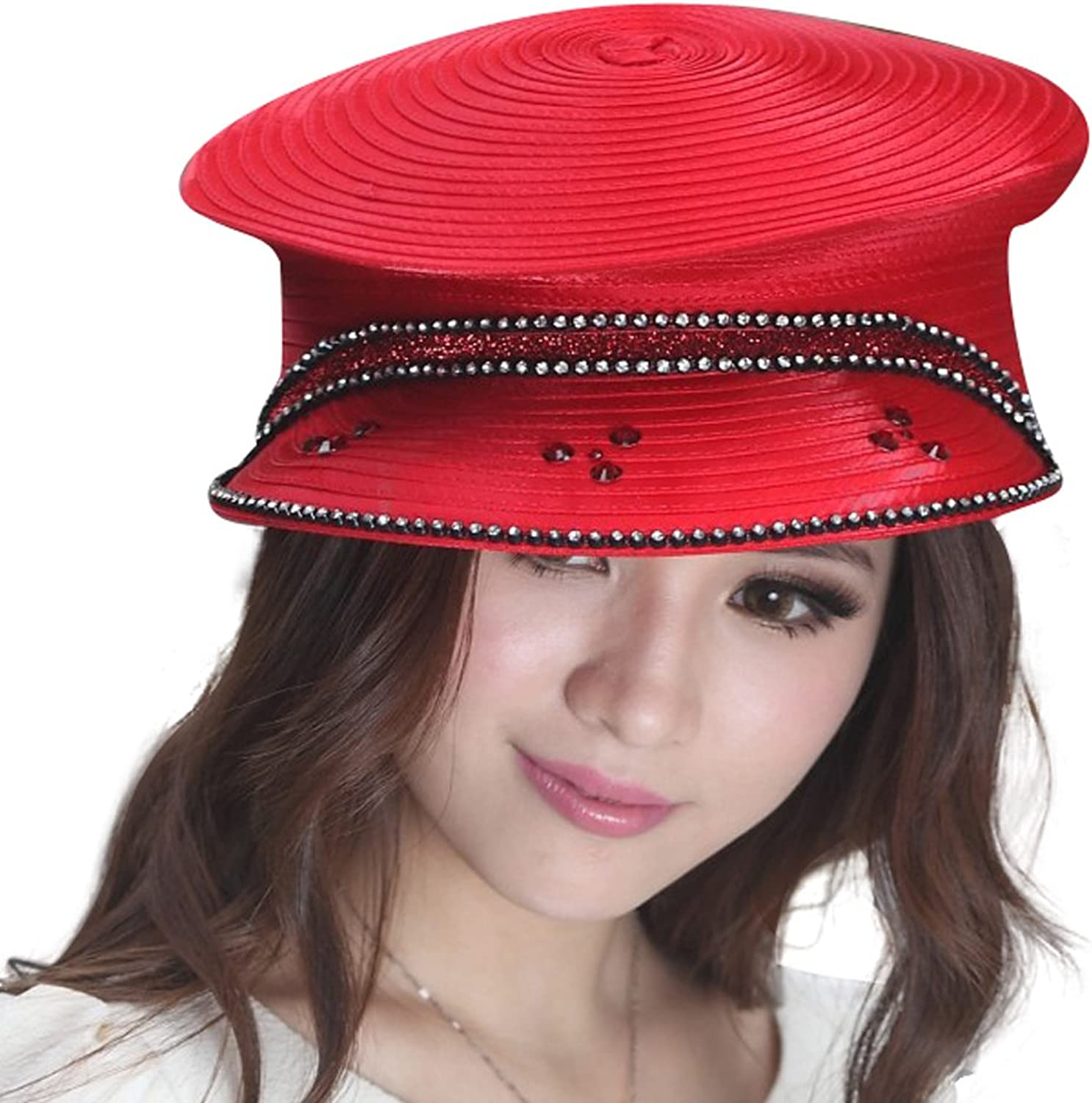 June's Young Ladies Church Hats Party Hats 100% Polyester Royal bluee Red 2 colors