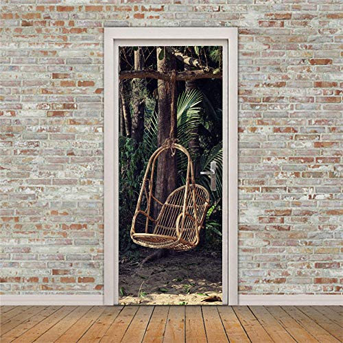 Modern konst 3D-dörrmålning klistermärke 95 x 215 cm, dra bort och klistra fast avtagbara vinyldörrdekaler för innerdörrar, sovrum vardagsrum badrum heminredning – bananträd, bambuvagga