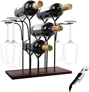 Wine Rack Countertop, Wine Holder and Glass Holder, Hold 4 Wine Bottles and 4 Glasses, Perfect for Home Decor & Kitchen St...
