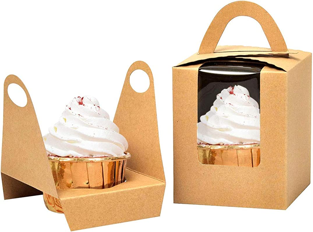 Kraft Cupcake Boxes 50pcs Single Cupcake Carrier With Window Insert And Handle Kraft Pastry Containers Muffins Cupcake Carriers For Bakery Wrapping Party Favor Packing