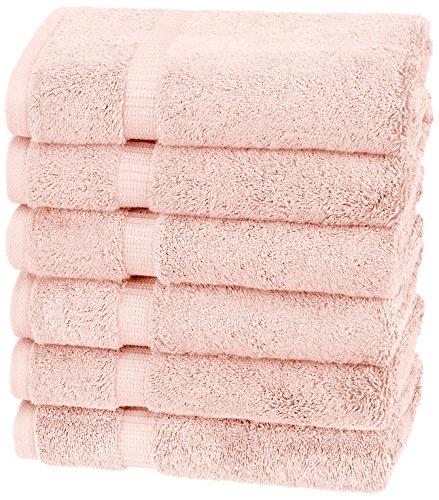 Amazon Brand – Pinzon Organic Cotton Hand Towels, Set of 6, Blush Peach/Pink