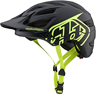 Troy Lee Designs Adult | Trail | Enduro | Half Shell A1 Drone Mountain Biking Helmet (Medium/Large, Black/Flo Yellow)