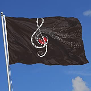 YUANSHAN Home Garden Flag Love Music Microphone and Music Notes Polyester Flag Indoor/Outdoor Wall Banners Decorative Flag 3' X 5'