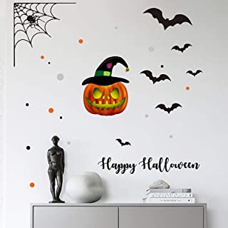Holly LifePro Pumpkin Bat Spider Web Party Supplies Happy Halloween Removable Decal Wall Sticker for Bar Living Room Home ...
