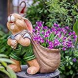 Impresionante Conejito Conejo Flor Planta Maceta Florero Resina Jardín Hogar Adorno Grande