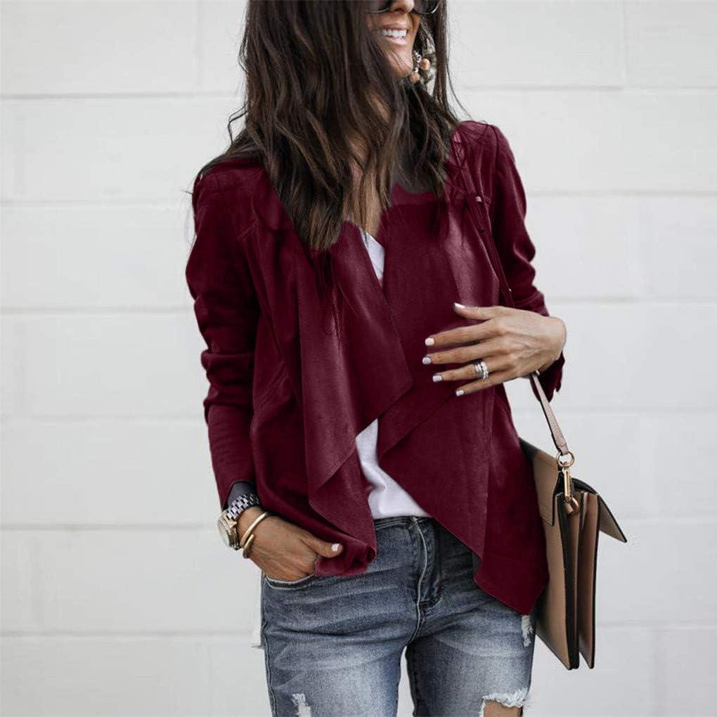 Dorical Anzug Mantel für Frauen, Damen Langarm Kunstleder Open Front Kurz Blazer Cardigan Jacke Arbeit Büro Wasserfall-Ausschnitt Asymmetrisch Jacket Weinrot