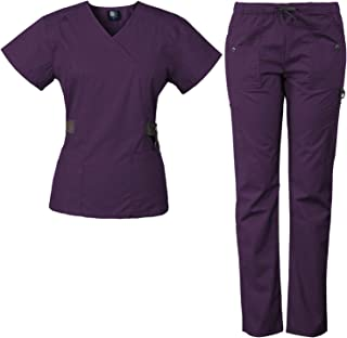 12-Pocket Women's Scrub Set with Silver Snap Detail & Contrast Trim