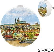 Prague Czech Republic Tourism Plug in LED Night Light Auto Sensor Smart Dusk to Dawn Decorative Night for Bedroom, Bathroom, Kitchen, Hallway, Stairs,Hallway,Baby's Room, Energy Saving, 2 Pack