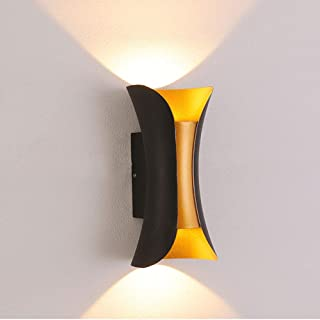 Bonnie-Sam Outdoor Wall Mount Light Porch Lamp Fixture Sconce with 10W LED Black Finished for Up Down House Patio Decor Lighting