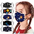 ORT 5PCS Reusable Washable Face Bandanas,Breathable Protective Face_Masks with Adjustable Ear Straps for Children,Cute Printed Face Coverings for Kids Boys Girls Outdoor Students Back to School