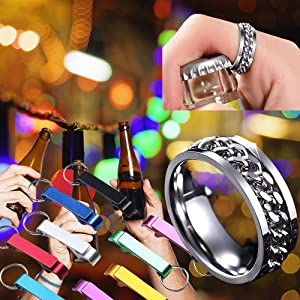 7 PCS Openers 6 Pcs Beer Bottle Opener Magnetic Premium Metal Keychain Pocket Claw Bar Soda Beverage, Easy To Carry For Men And Women, 1pcs Stainless Steel Spinner Cool Rings As Beer Opener(Pack of 7)
