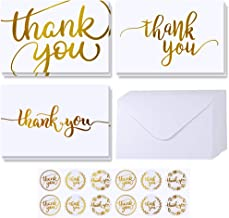 Supla 102 Sets Gold Foil Thank You Cards Bulk with Envelopes Stickers Thank You Notes 3 Designs Blank Thank You Note Cards Greeting Cards 4