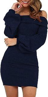 Yumiki ワンピース 肩出し 肩見せ トップス 春夏 秋 タイトミニ丈 ミニワンピ セクシー 衣装 キャバ 二次会 パーティー 長袖 ボディコン シンプル カジュアル お嬢様 ギャル服