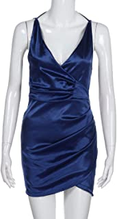 TheUniqueHouse Summer Deep V Sequins Wrap Ruched Long Sleeve Nightclub Mini Dresses Party Night Dress