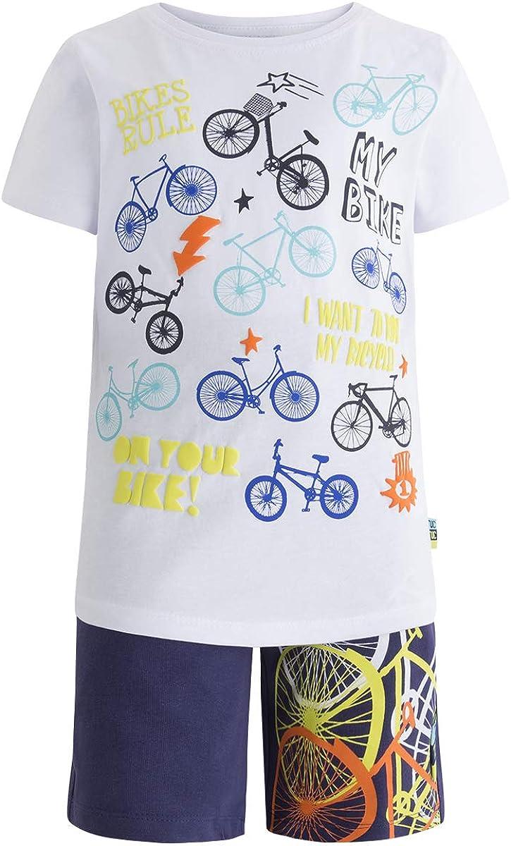 Tuc Tuc Camiseta Punto+Bermuda Felpa Niño Happy Conjunto de Ropa para Niños